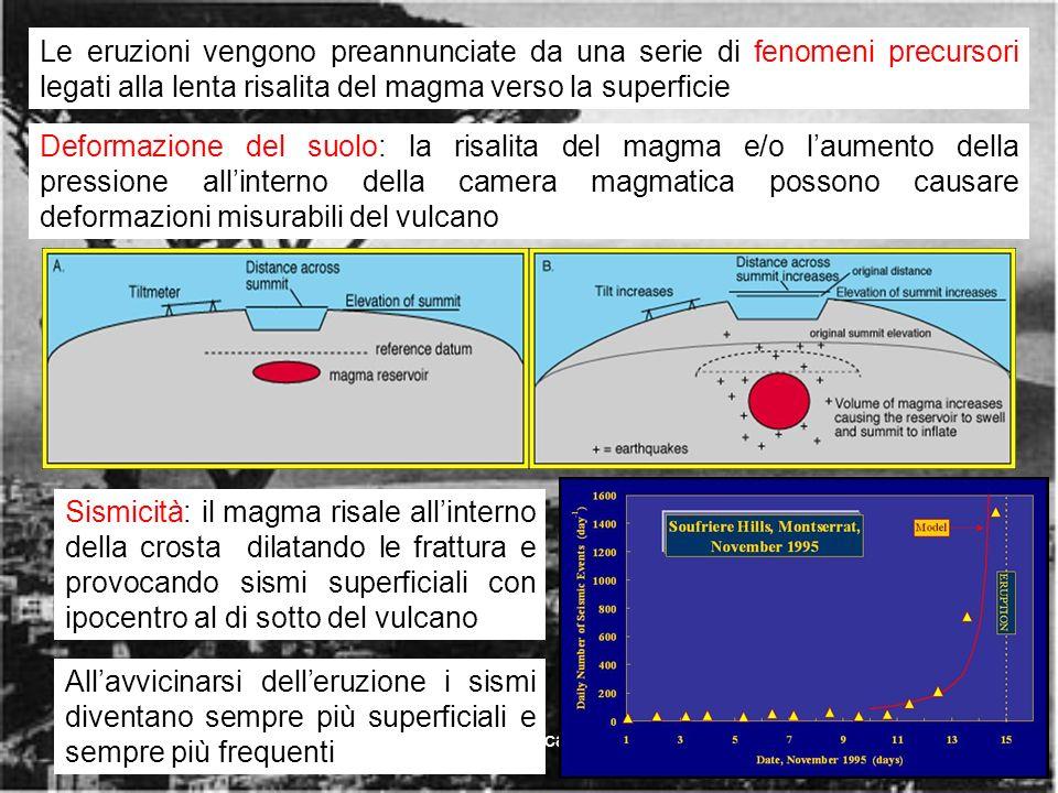 rischio vulcanico16 Deformazione del suolo: la risalita del magma e/o laumento della pressione allinterno della camera magmatica possono causare deformazioni misurabili del vulcano Sismicità: il magma risale allinterno della crosta dilatando le frattura e provocando sismi superficiali con ipocentro al di sotto del vulcano Le eruzioni vengono preannunciate da una serie di fenomeni precursori legati alla lenta risalita del magma verso la superficie Allavvicinarsi delleruzione i sismi diventano sempre più superficiali e sempre più frequenti