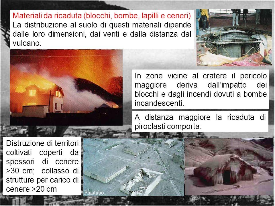 rischio vulcanico6 Materiali da ricaduta (blocchi, bombe, lapilli e ceneri) La distribuzione al suolo di questi materiali dipende dalle loro dimensioni, dai venti e dalla distanza dal vulcano.
