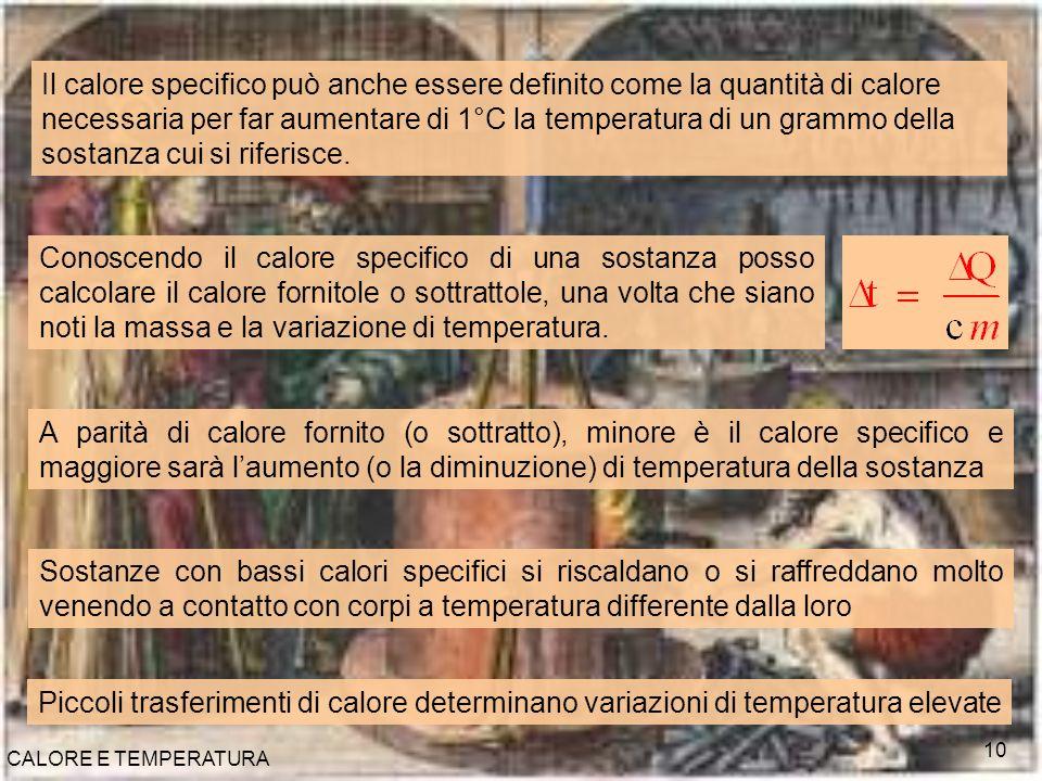 CALORE E TEMPERATURA 10 Il calore specifico può anche essere definito come la quantità di calore necessaria per far aumentare di 1°C la temperatura di