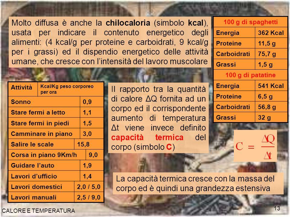 CALORE E TEMPERATURA 13 Molto diffusa è anche la chilocaloria (simbolo kcal), usata per indicare il contenuto energetico degli alimenti: (4 kcal/g per