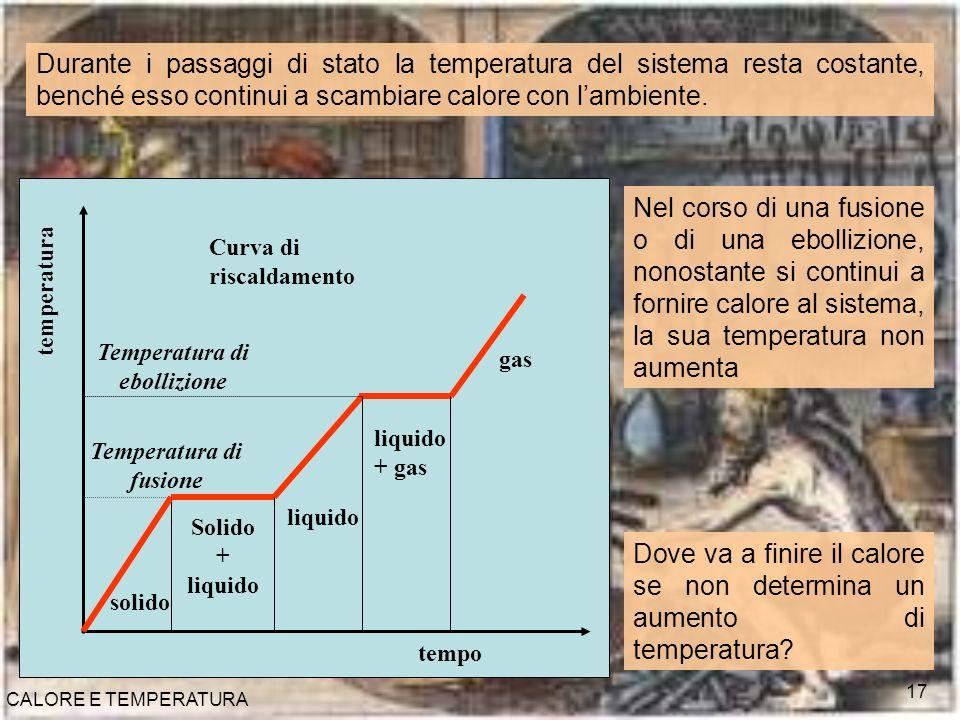 CALORE E TEMPERATURA 17 solido Solido + liquido liquido gas temperatura Temperatura di ebollizione Temperatura di fusione Curva di riscaldamento liqui