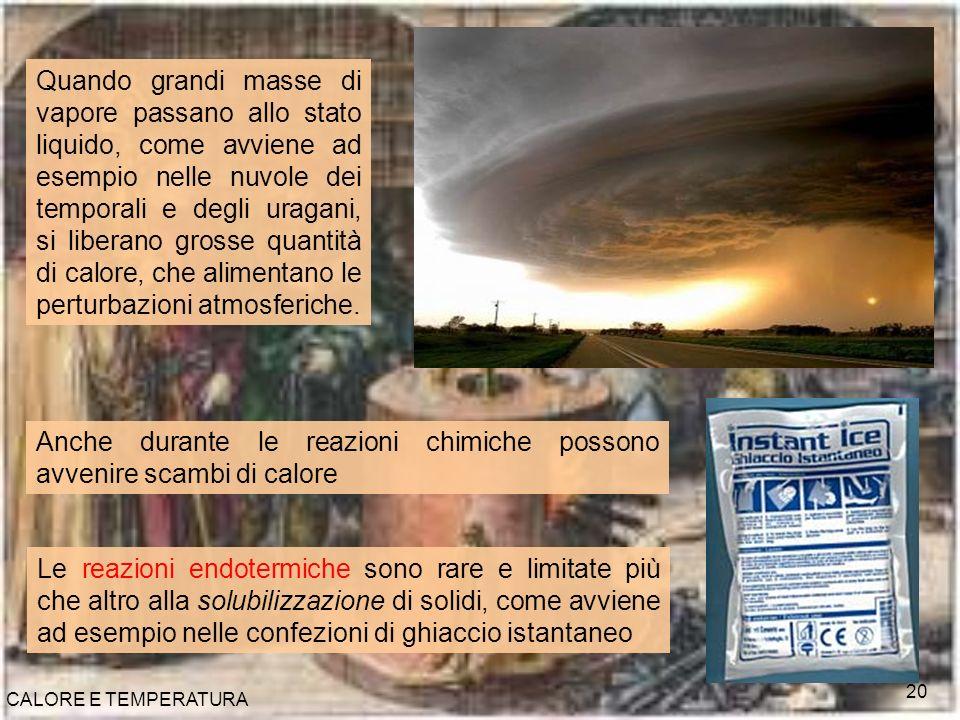 CALORE E TEMPERATURA 20 Quando grandi masse di vapore passano allo stato liquido, come avviene ad esempio nelle nuvole dei temporali e degli uragani,