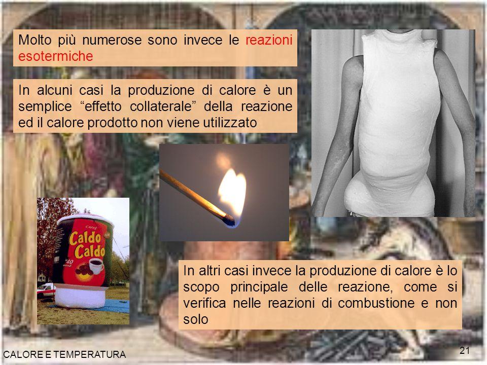 CALORE E TEMPERATURA 21 Molto più numerose sono invece le reazioni esotermiche In alcuni casi la produzione di calore è un semplice effetto collateral