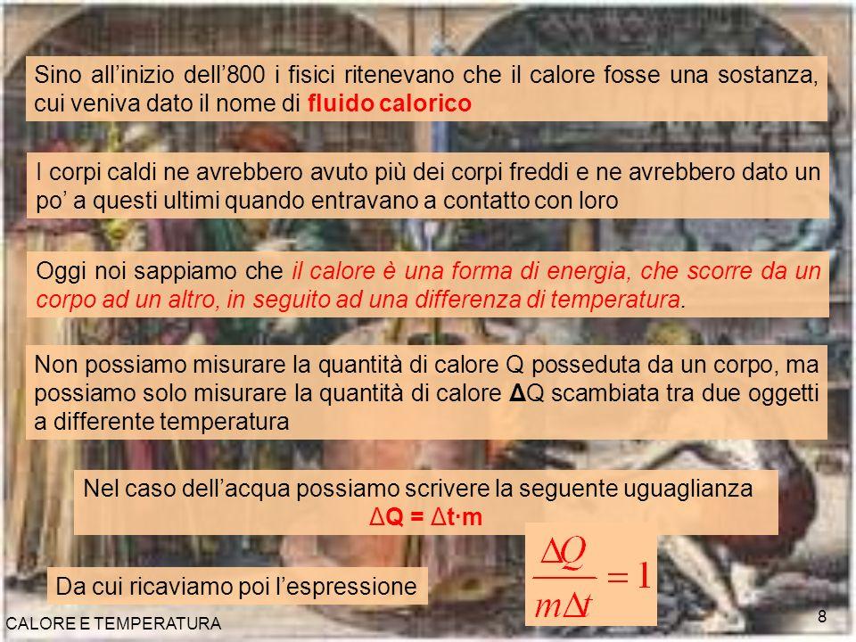 CALORE E TEMPERATURA 9 Ripetendo lesperienza con altre sostanze, il rapporto tra la quantità di calore scambiato ΔQ ed il conseguente aumento di temperatura per unità di massa Δt·m non è uguale ad uno, ma assume un valore costante e caratteristico della sostanza stessa Questa nuova grandezza fisica prende il nome di calore specifico ΔQ = c·Δt·m Legge fondamentale della calorimetria Il calore ΔQ scambiato da un corpo durante una trasformazione è uguale al prodotto della sua massa m, per il suo calore specifico c, per la variazione di temperatura Δt che ha subito.