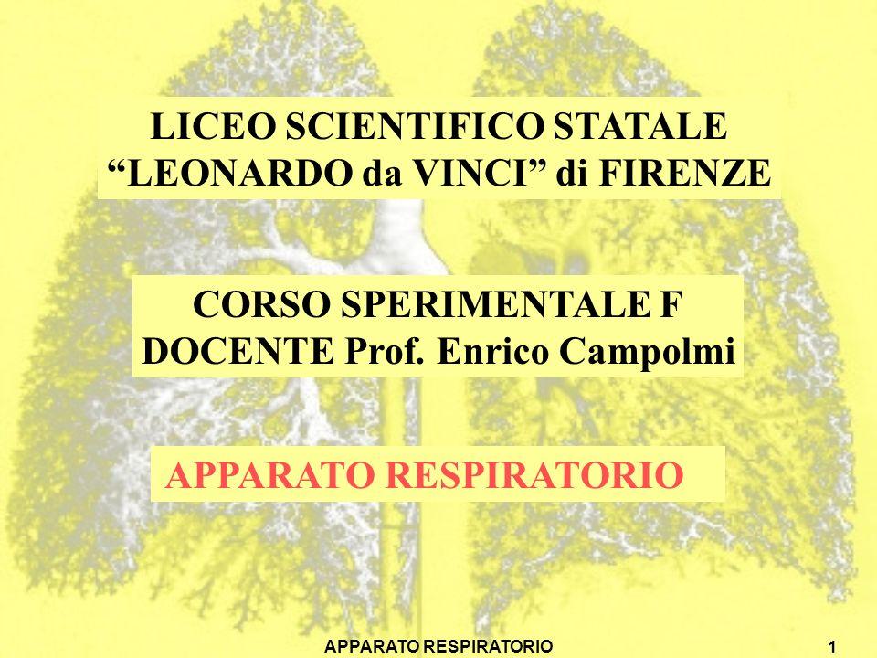 APPARATO RESPIRATORIO 1 LICEO SCIENTIFICO STATALE LEONARDO da VINCI di FIRENZE CORSO SPERIMENTALE F DOCENTE Prof.