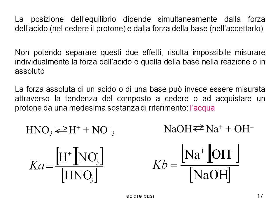 acidi e basi17 La posizione dellequilibrio dipende simultaneamente dalla forza dellacido (nel cedere il protone) e dalla forza della base (nellaccetta
