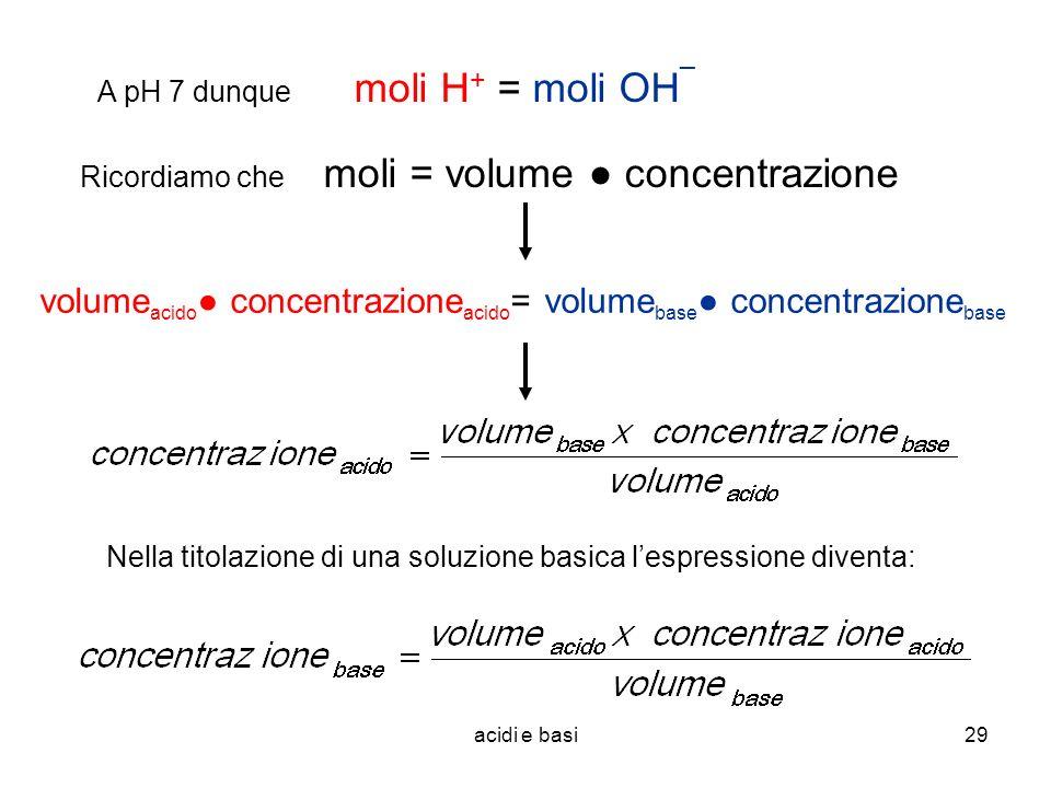 acidi e basi29 Ricordiamo che moli = volume concentrazione A pH 7 dunque volume acido concentrazione acido = volume base concentrazione base moli H +