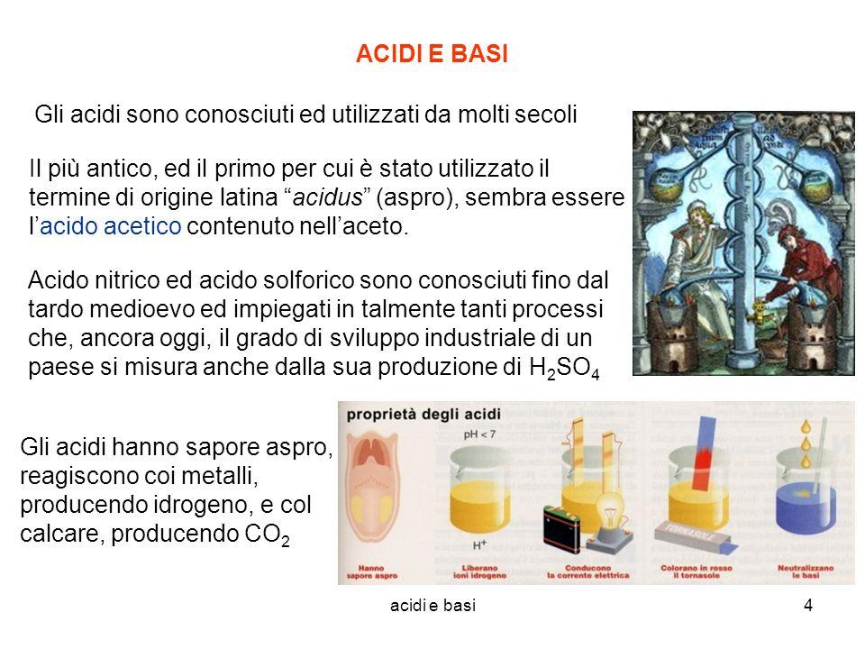 acidi e basi4 ACIDI E BASI Gli acidi sono conosciuti ed utilizzati da molti secoli Il più antico, ed il primo per cui è stato utilizzato il termine di