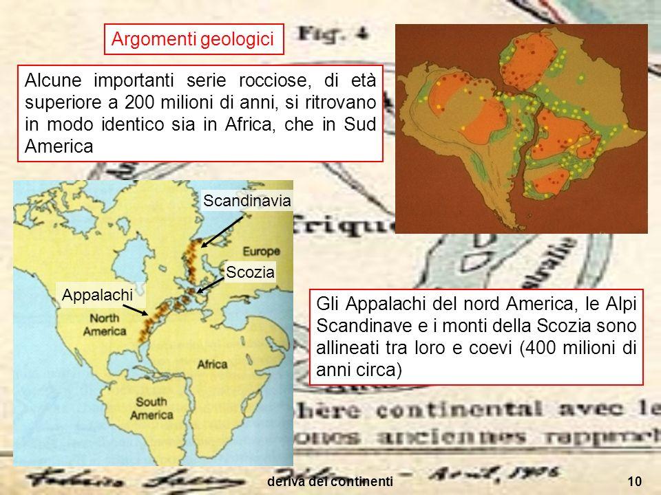 deriva dei continenti10 Argomenti geologici Alcune importanti serie rocciose, di età superiore a 200 milioni di anni, si ritrovano in modo identico si
