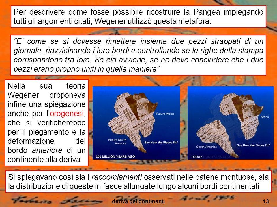 deriva dei continenti13 Nella sua teoria Wegener proponeva infine una spiegazione anche per lorogenesi, che si verificherebbe per il piegamento e la d