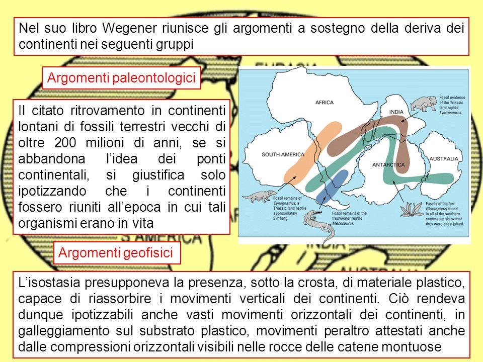 deriva dei continenti10 Argomenti geologici Alcune importanti serie rocciose, di età superiore a 200 milioni di anni, si ritrovano in modo identico sia in Africa, che in Sud America Gli Appalachi del nord America, le Alpi Scandinave e i monti della Scozia sono allineati tra loro e coevi (400 milioni di anni circa) Appalachi Scandinavia Scozia