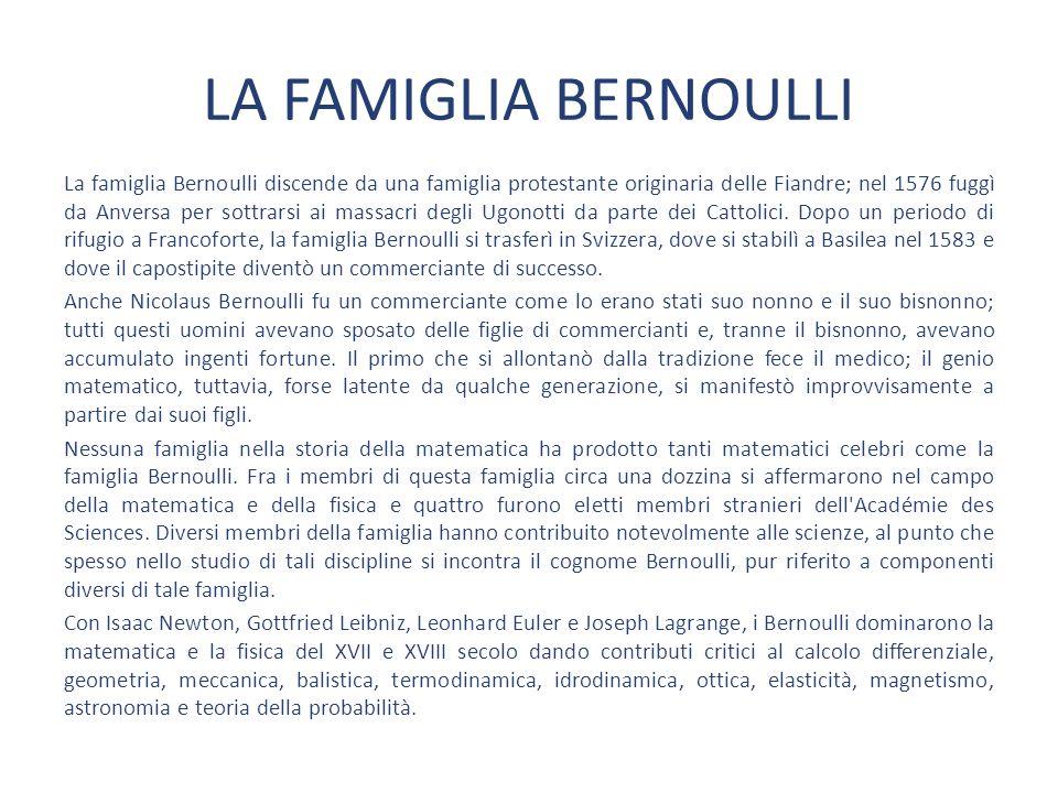 LA FAMIGLIA BERNOULLI La famiglia Bernoulli discende da una famiglia protestante originaria delle Fiandre; nel 1576 fuggì da Anversa per sottrarsi ai massacri degli Ugonotti da parte dei Cattolici.