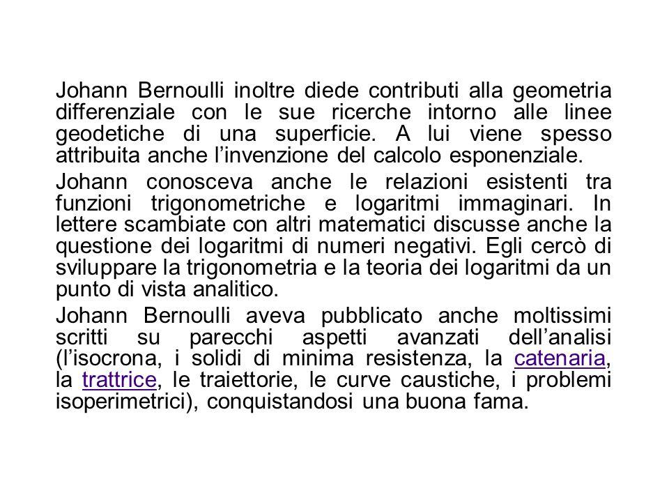 Nel 1696 Johann Bernoulli propose il problema della brachistocrona (per questo viene spesso considerato l inventore del calcolo delle variazioni), seb