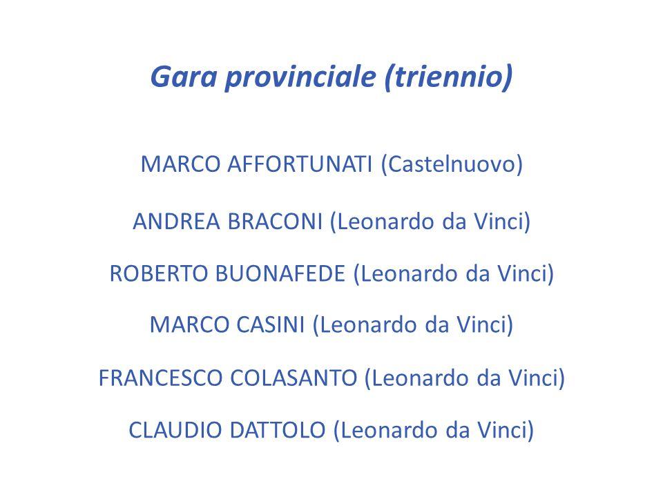 TOMMASO CORTOPASSI (Enriques) LEONARDO MARINI (Buzzi) Gara provinciale (biennio) SIMONE MAZZOLINI (Pontormo)