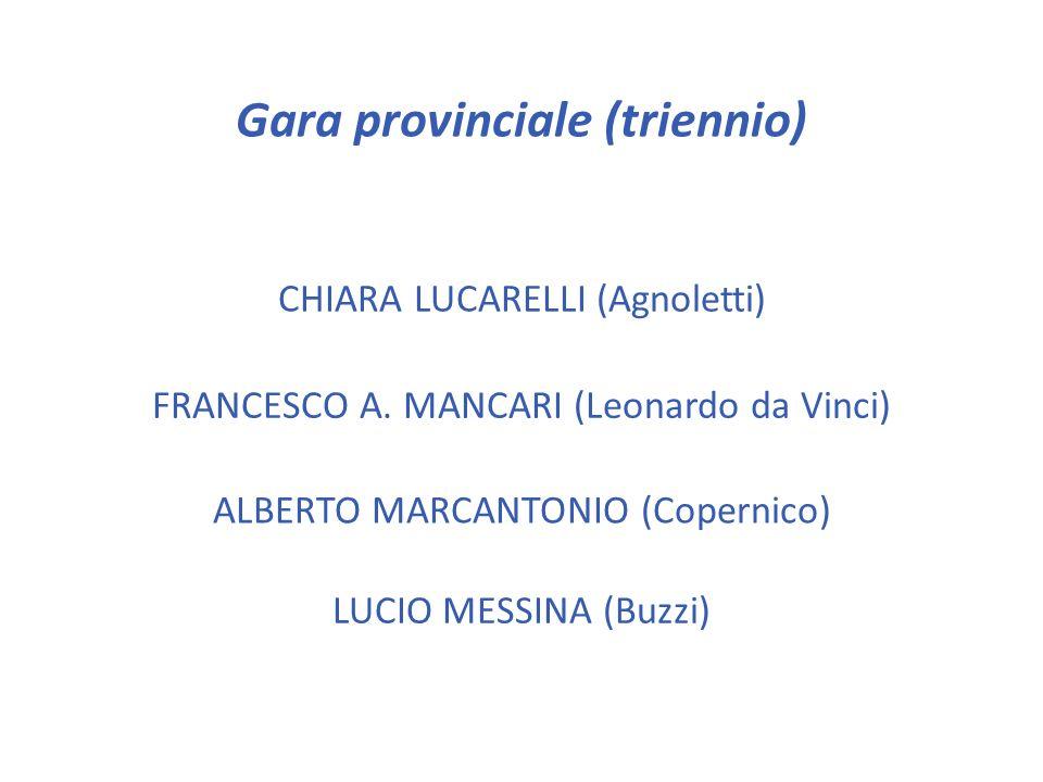 Gara provinciale (triennio) EDOARDO DINI (Gobetti) LUDOVICA FAZIO (Leonardo da Vinci) TOMMASO GIULIANI (Leonardo da Vinci) FRANCESCO LEONE (Copernico)
