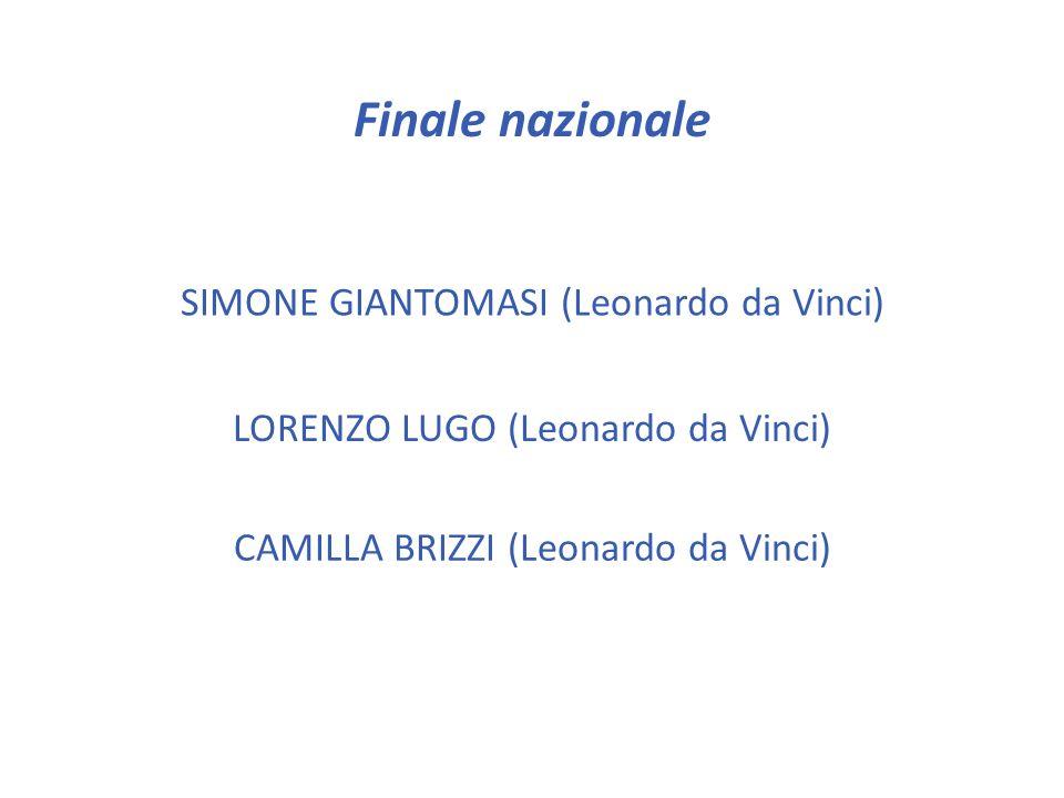 Gara provinciale (triennio) CHIARA LUCARELLI (Agnoletti) FRANCESCO A. MANCARI (Leonardo da Vinci) ALBERTO MARCANTONIO (Copernico) LUCIO MESSINA (Buzzi