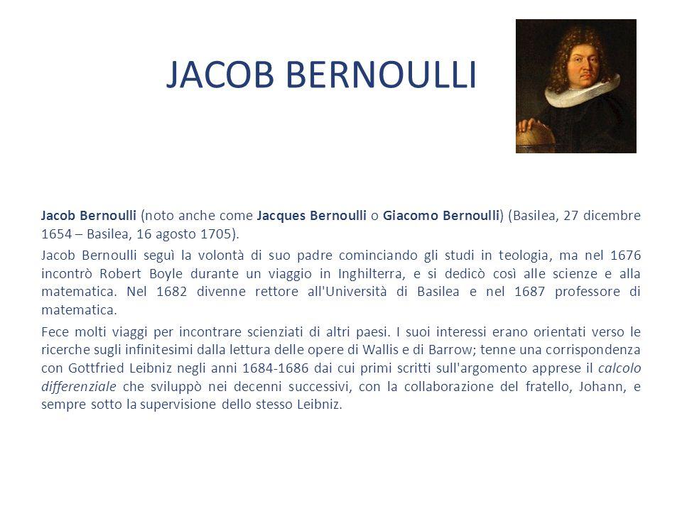 DANIEL BERNOULLI Figlio di Johan, nato l8 Febbraio del 1700 a Groningen nei Paesi Bassi, insieme al padre e allo zio Jacob è stato un importante studioso di matematica e a differenza del padre e dello zio si interessò anche delle sue applicazioni in alcuni settori della fisica.