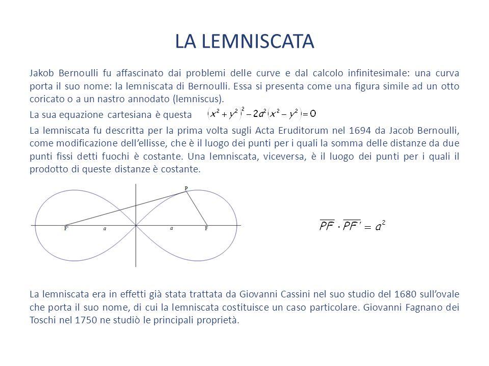 LA LEMNISCATA Jakob Bernoulli fu affascinato dai problemi delle curve e dal calcolo infinitesimale: una curva porta il suo nome: la lemniscata di Bernoulli.
