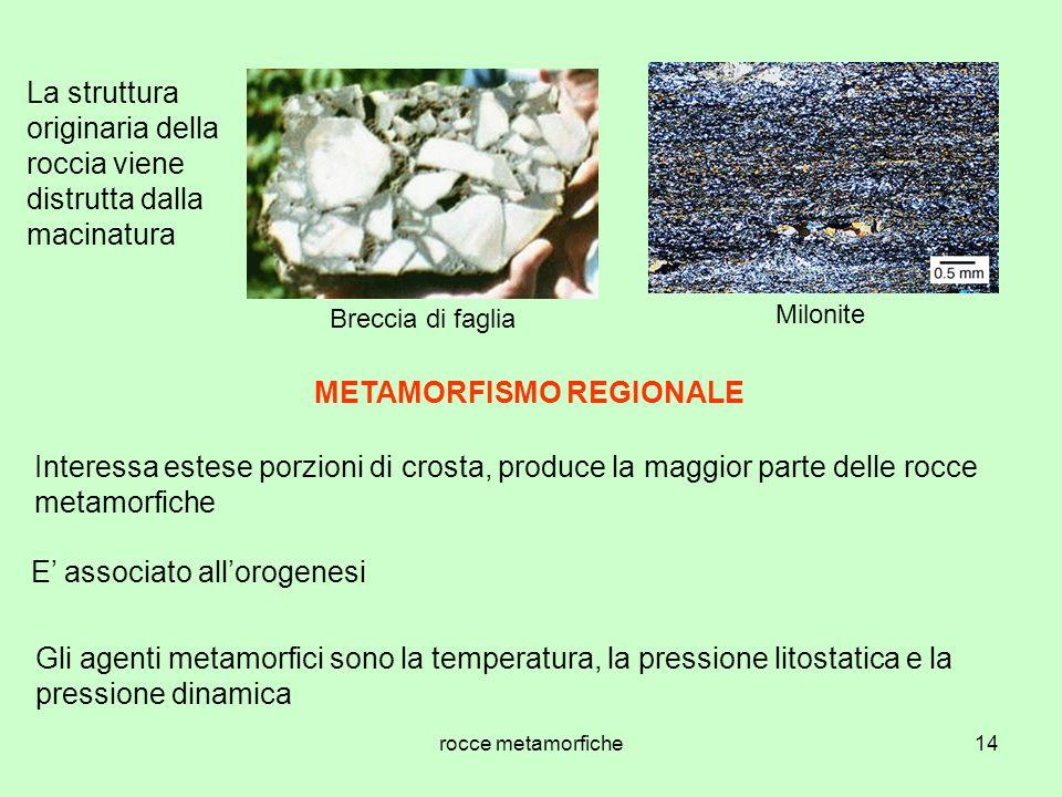 rocce metamorfiche14 La struttura originaria della roccia viene distrutta dalla macinatura Breccia di faglia Milonite METAMORFISMO REGIONALE Interessa estese porzioni di crosta, produce la maggior parte delle rocce metamorfiche E associato allorogenesi Gli agenti metamorfici sono la temperatura, la pressione litostatica e la pressione dinamica