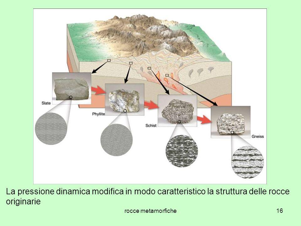 rocce metamorfiche16 La pressione dinamica modifica in modo caratteristico la struttura delle rocce originarie