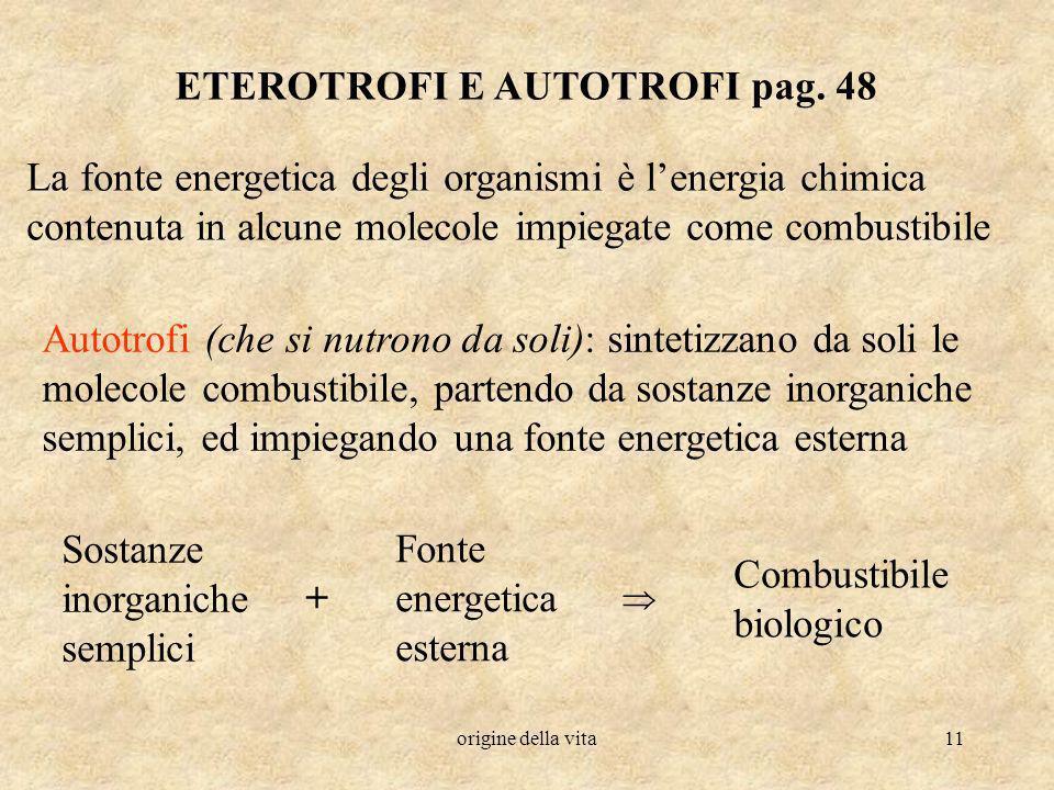 origine della vita11 ETEROTROFI E AUTOTROFI pag. 48 La fonte energetica degli organismi è lenergia chimica contenuta in alcune molecole impiegate come