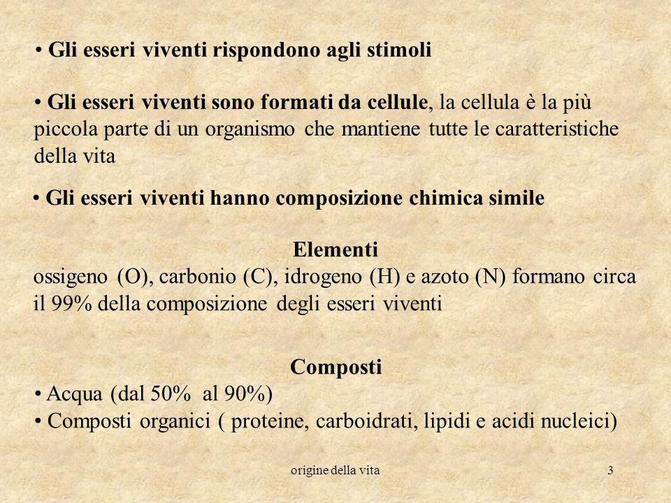 origine della vita3 Gli esseri viventi sono formati da cellule, la cellula è la più piccola parte di un organismo che mantiene tutte le caratteristich