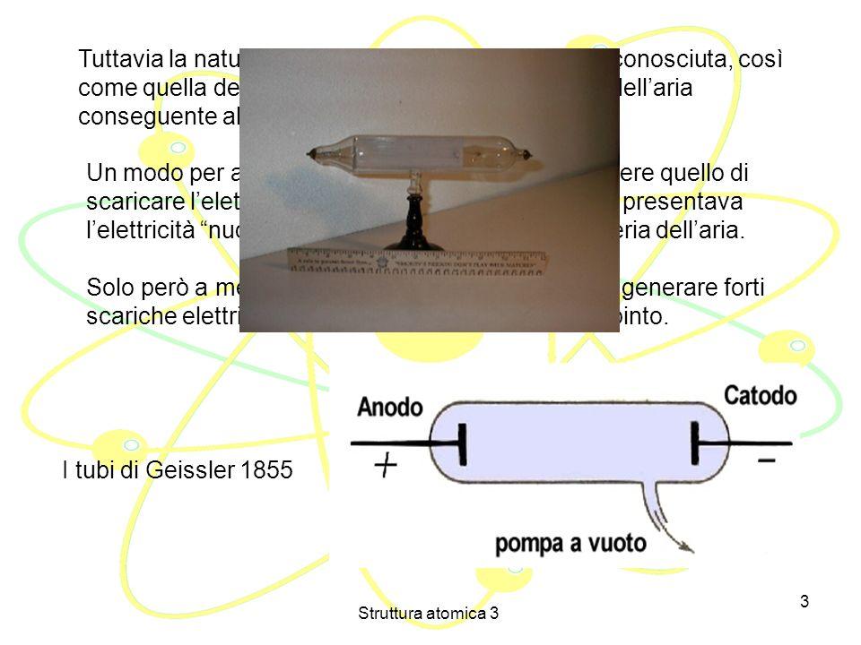 Struttura atomica 3 2 Alla fine dell800, anche se il modello atomico della materia era ormai in grado di spiegare numerosi fenomeni, nessuno poteva an