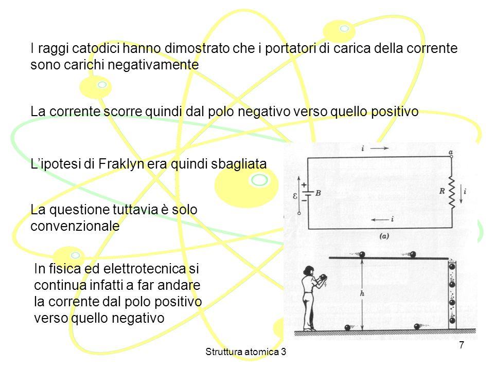Struttura atomica 3 6 BATTERIA CATODO ANODO + + + + + + ++++ LESPERIENZA DI THOMSON (1897) Aggiungiamo una forza elettrica Ogni raggio catodico porta