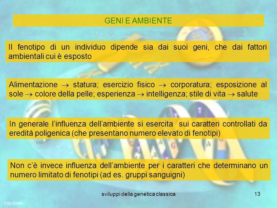 sviluppi della genetica classica13 Il fenotipo di un individuo dipende sia dai suoi geni, che dai fattori ambientali cui è esposto Alimentazione statu