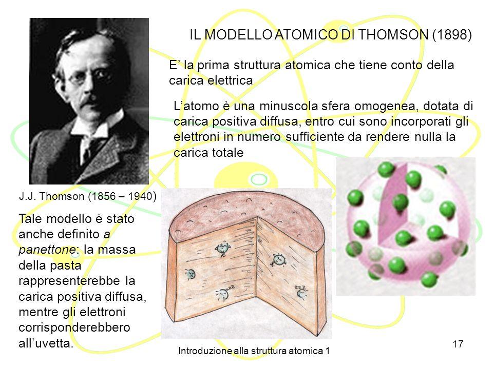 Introduzione alla struttura atomica 1 16 Thomson suppose che un raggio catodico avesse carica pari alla carica elementare (1,6 10 -19 coulomb), la più