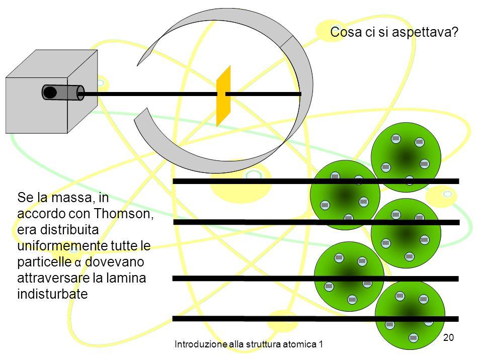Introduzione alla struttura atomica 1 19 Sufficientemente piccole e penetranti, le particelle α si rivelano un buono strumento per sondare la struttur