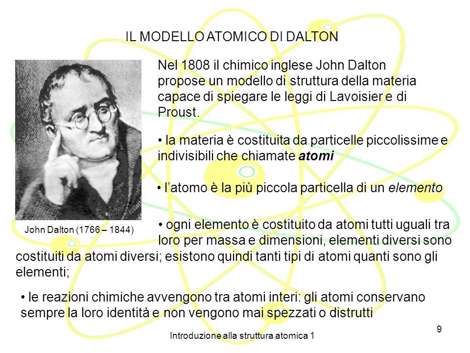 Introduzione alla struttura atomica 1 9 John Dalton (1766 – 1844) IL MODELLO ATOMICO DI DALTON Nel 1808 il chimico inglese John Dalton propose un modello di struttura della materia capace di spiegare le leggi di Lavoisier e di Proust.