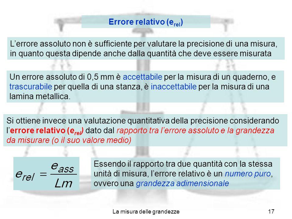 La misura delle grandezze17 Errore relativo (e rel ) Lerrore assoluto non è sufficiente per valutare la precisione di una misura, in quanto questa dip