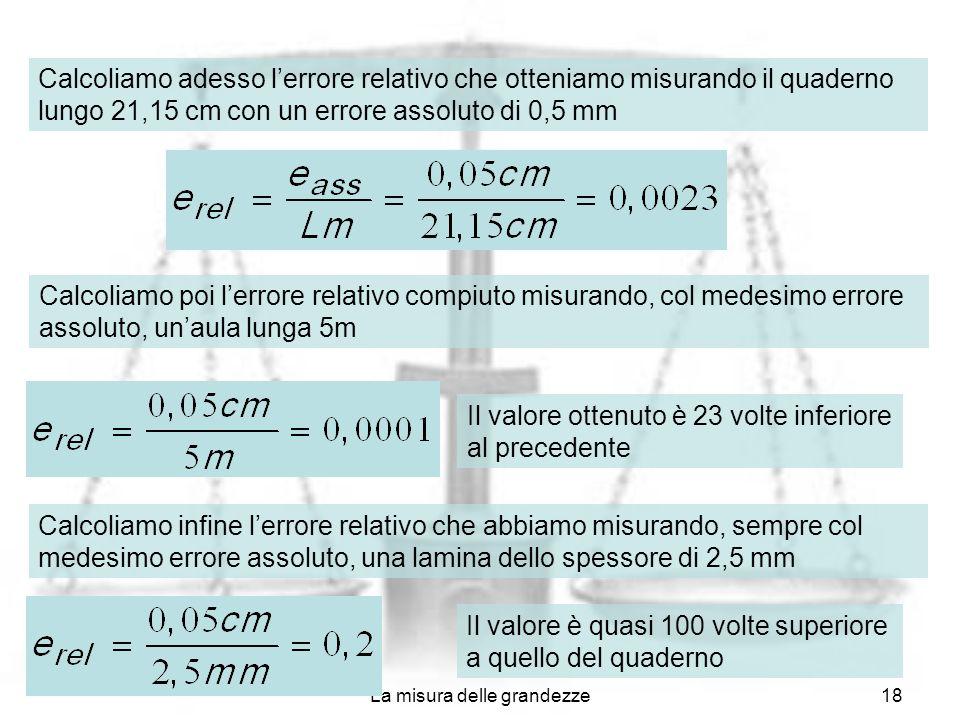 La misura delle grandezze18 Calcoliamo adesso lerrore relativo che otteniamo misurando il quaderno lungo 21,15 cm con un errore assoluto di 0,5 mm Cal