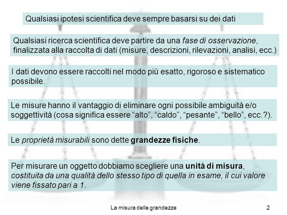 La misura delle grandezze2 Qualsiasi ipotesi scientifica deve sempre basarsi su dei dati Qualsiasi ricerca scientifica deve partire da una fase di oss