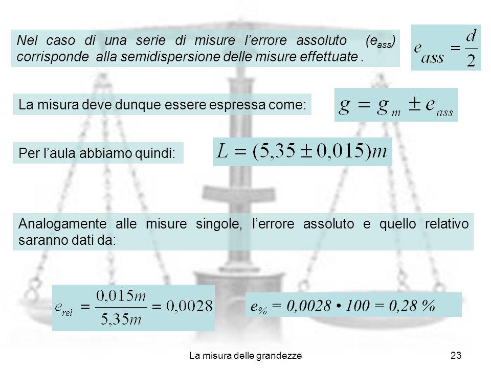 La misura delle grandezze23 Nel caso di una serie di misure lerrore assoluto (e ass ) corrisponde alla semidispersione delle misure effettuate. La mis