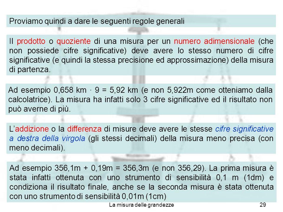 La misura delle grandezze29 Proviamo quindi a dare le seguenti regole generali Il prodotto o quoziente di una misura per un numero adimensionale (che