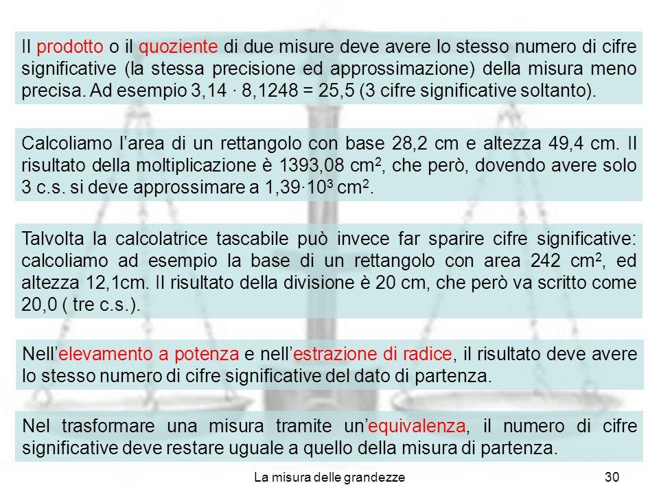 La misura delle grandezze30 Il prodotto o il quoziente di due misure deve avere lo stesso numero di cifre significative (la stessa precisione ed appro