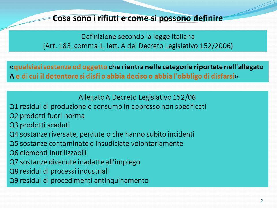 2 Cosa sono i rifiuti e come si possono definire Definizione secondo la legge italiana (Art. 183, comma 1, lett. A del Decreto Legislativo 152/2006) «