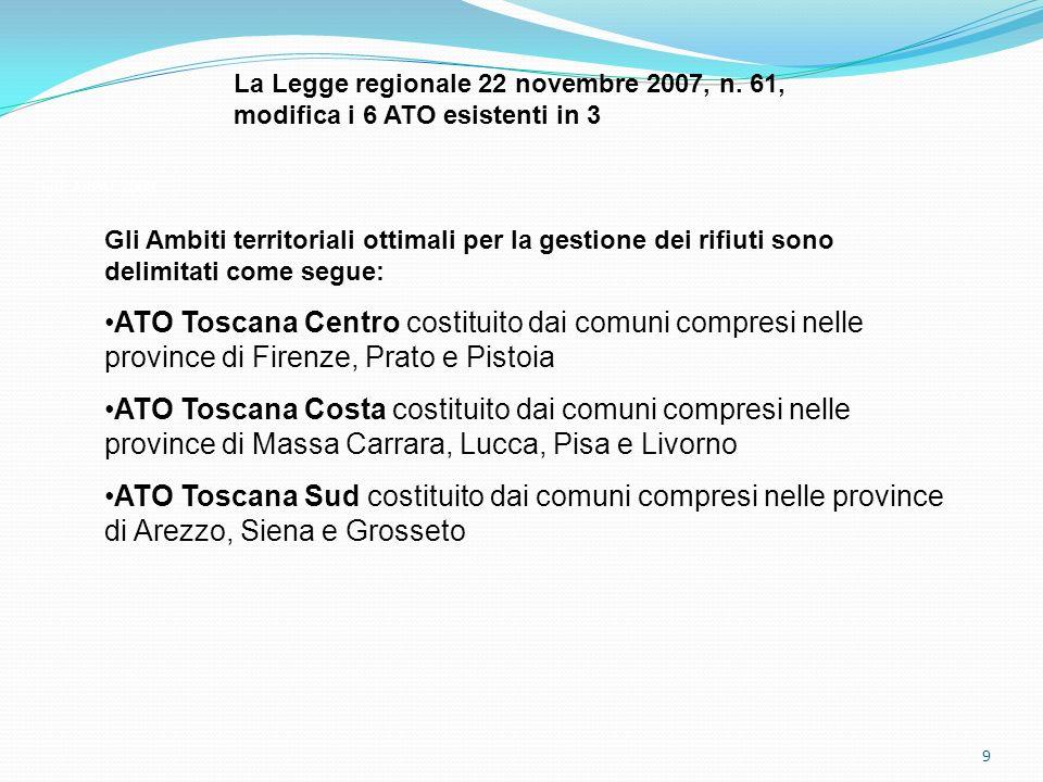 9 Dati: ARPAT 2008 La Legge regionale 22 novembre 2007, n. 61, modifica i 6 ATO esistenti in 3 Gli Ambiti territoriali ottimali per la gestione dei ri