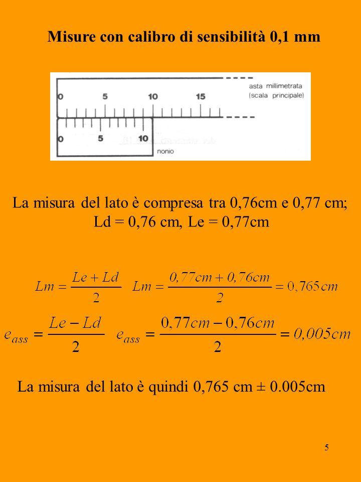 5 Misure con calibro di sensibilità 0,1 mm La misura del lato è compresa tra 0,76cm e 0,77 cm; Ld = 0,76 cm, Le = 0,77cm La misura del lato è quindi 0