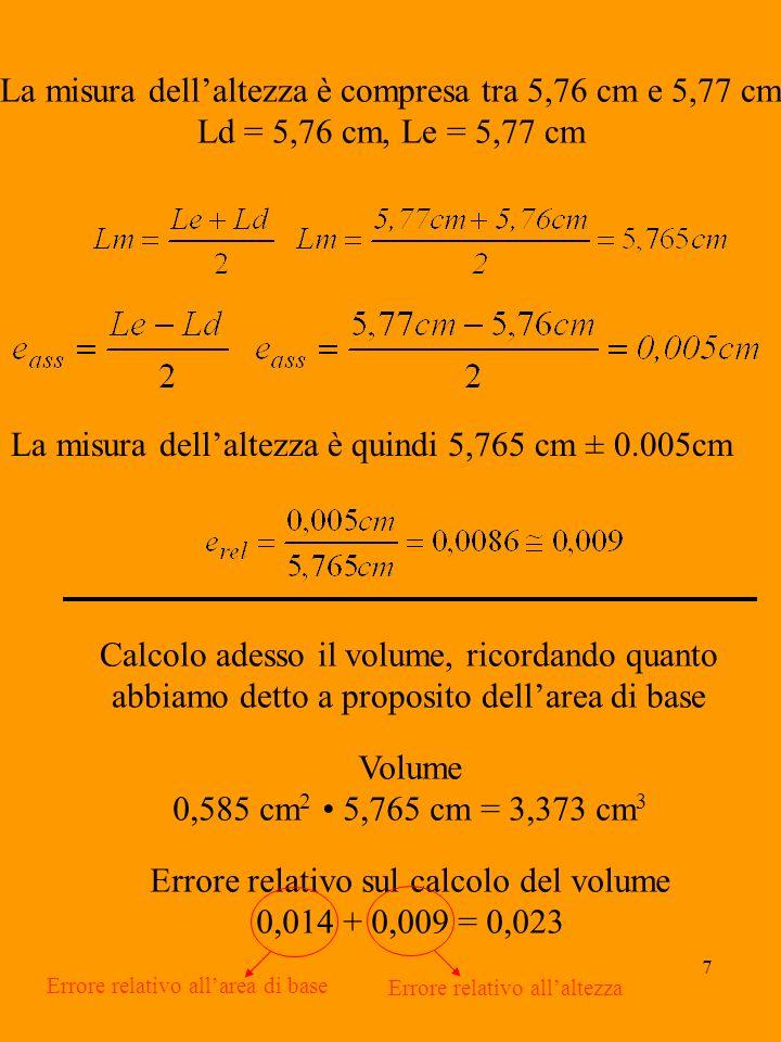 8 Calcoliamo adesso lerrore assoluto commesso nel calcolo del volume, ricordando che: e ass = e rel volume e ass = 0,023 3,373 cm 3 = 0,077 cm 3 Otteniamo quindi che Volume = 3,373 cm 3 0,077 cm 3 Calcoliamo infine lerrore percentuale relativo al calcolo del volume, ricordando che: e % = e rel 100 e % = 0,023 100 = 2,3 % Lerrore percentuale effettuato col calibro è circa un decimo di quello effettuato col righello