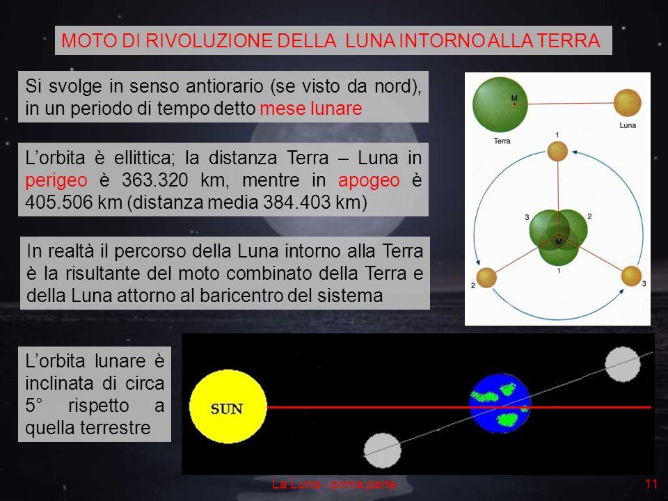 La Luna - prima parte11 MOTO DI RIVOLUZIONE DELLA LUNA INTORNO ALLA TERRA Si svolge in senso antiorario (se visto da nord), in un periodo di tempo detto mese lunare Lorbita è ellittica; la distanza Terra – Luna in perigeo è 363.320 km, mentre in apogeo è 405.506 km (distanza media 384.403 km) In realtà il percorso della Luna intorno alla Terra è la risultante del moto combinato della Terra e della Luna attorno al baricentro del sistema Lorbita lunare è inclinata di circa 5° rispetto a quella terrestre