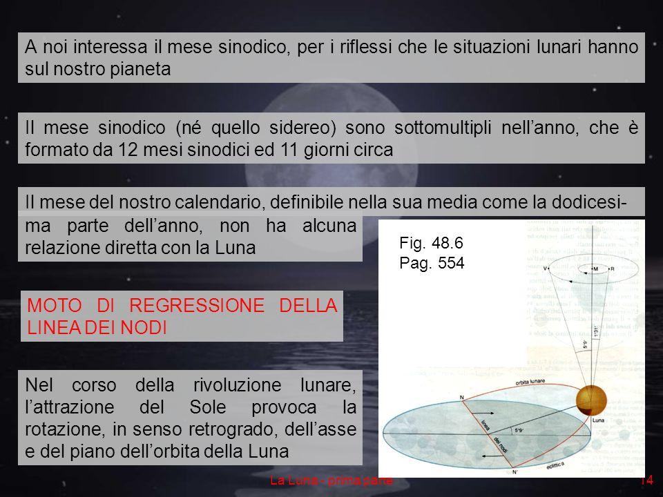 La Luna - prima parte14 A noi interessa il mese sinodico, per i riflessi che le situazioni lunari hanno sul nostro pianeta Il mese sinodico (né quello