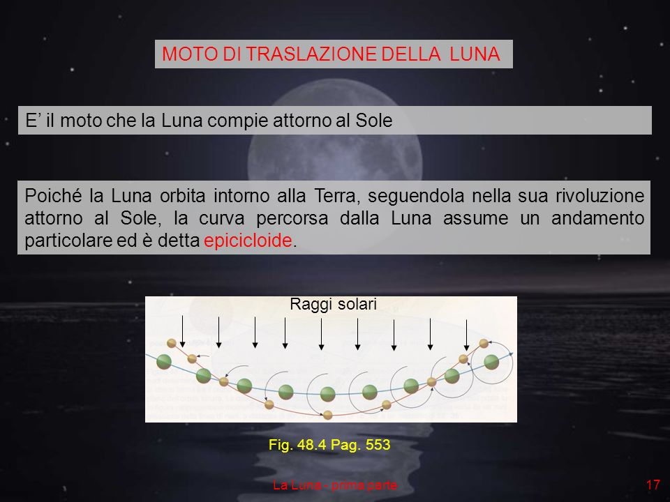La Luna - prima parte17 E il moto che la Luna compie attorno al Sole Poiché la Luna orbita intorno alla Terra, seguendola nella sua rivoluzione attorno al Sole, la curva percorsa dalla Luna assume un andamento particolare ed è detta epicicloide.