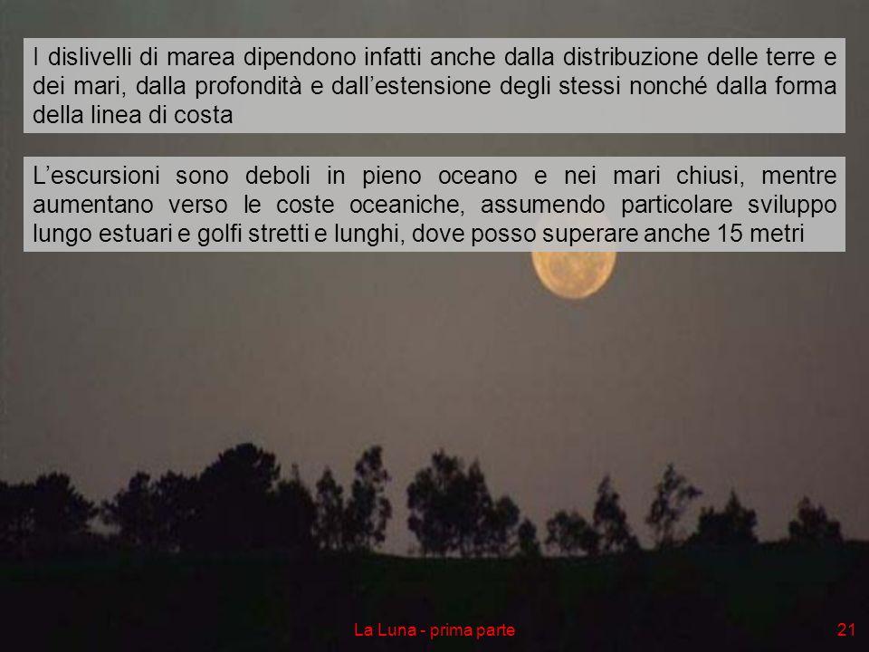 La Luna - prima parte21 Lescursioni sono deboli in pieno oceano e nei mari chiusi, mentre aumentano verso le coste oceaniche, assumendo particolare sv
