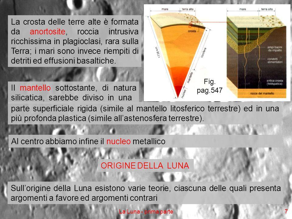 La Luna - prima parte8 Teoria della fissione La Luna si sarebbe formata per separazione dalla Terra Quando sulla Terra, ancora allo stato fuso, i materiali pesanti migrarono verso il nucleo, la conservazione del momento angolare determinò un aumento della velocità di rotazione Dalle zone equatoriali, a maggior velocità lineare, si sarebbe staccata una grossa goccia di materiale fluido terrestre, che avrebbe iniziato ad orbitare intorno alla Terra Ciò spiegherebbe la minor densità della Luna rispetto alla Terra Infatti dalla Terra si sarebbero separati gli strati più esterni, dove la differenziazione gravitativa avrebbe collocato i materiali più leggeri Lipotesi implicherebbe tuttavia che il piano di rivoluzione lunare co- incidesse con quello della rotazione terrestre, cosa che però non avviene