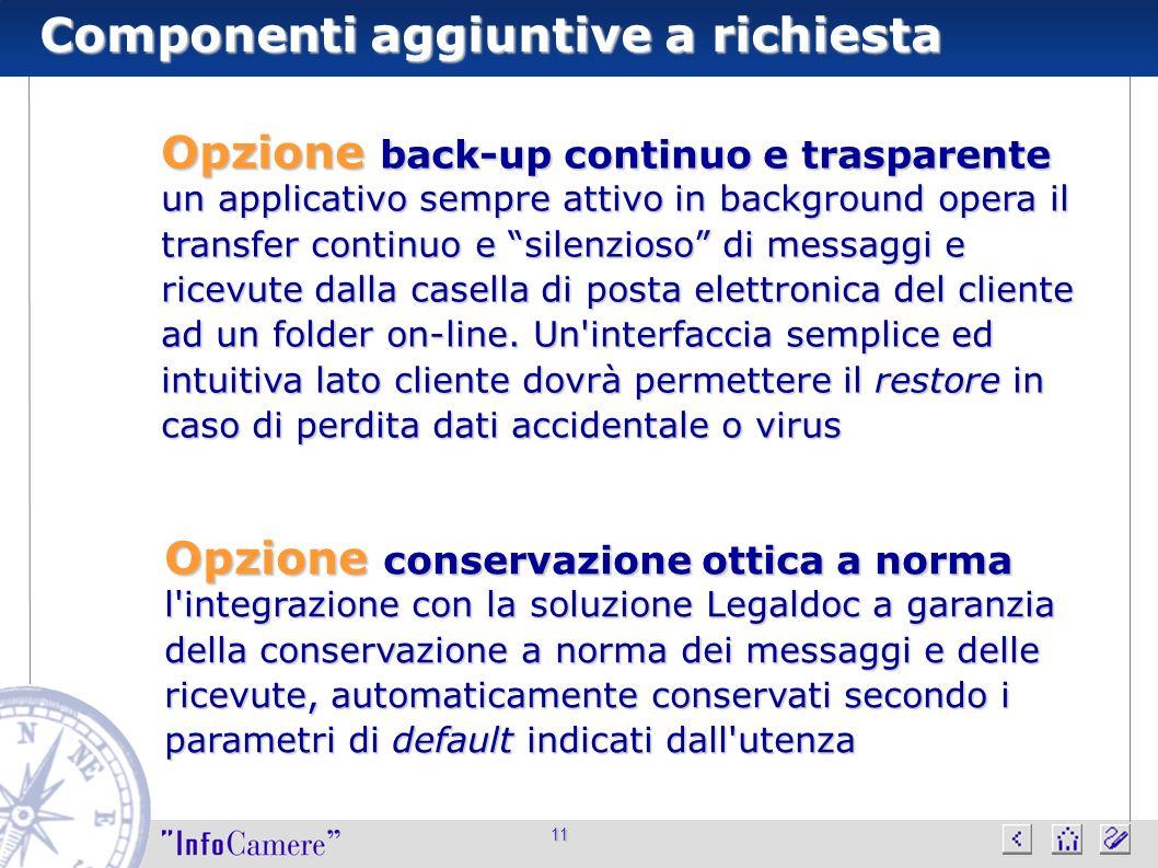 Componenti aggiuntive a richiesta 11 Opzione conservazione ottica a norma l'integrazione con la soluzione Legaldoc a garanzia della conservazione a no