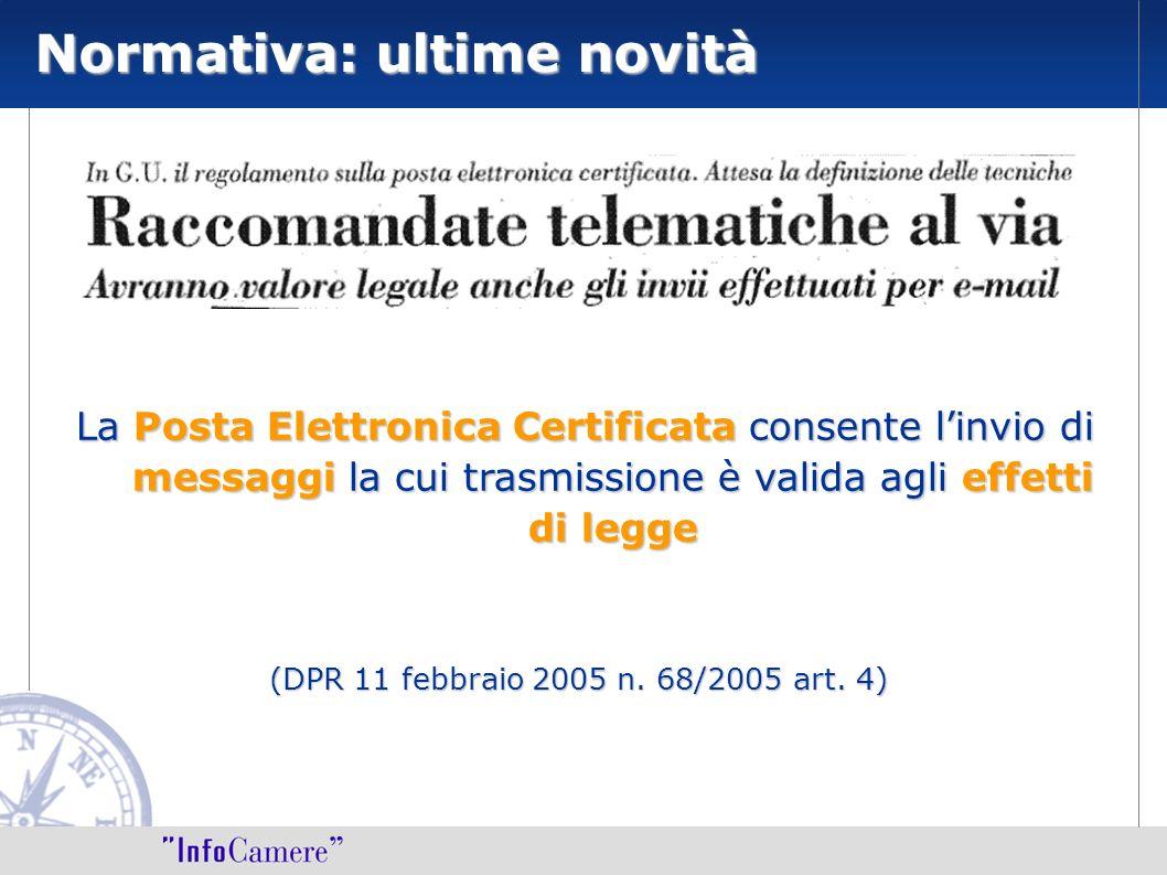 La Posta Elettronica Certificata consente linvio di messaggi la cui trasmissione è valida agli effetti di legge (DPR 11 febbraio 2005 n. 68/2005 art.