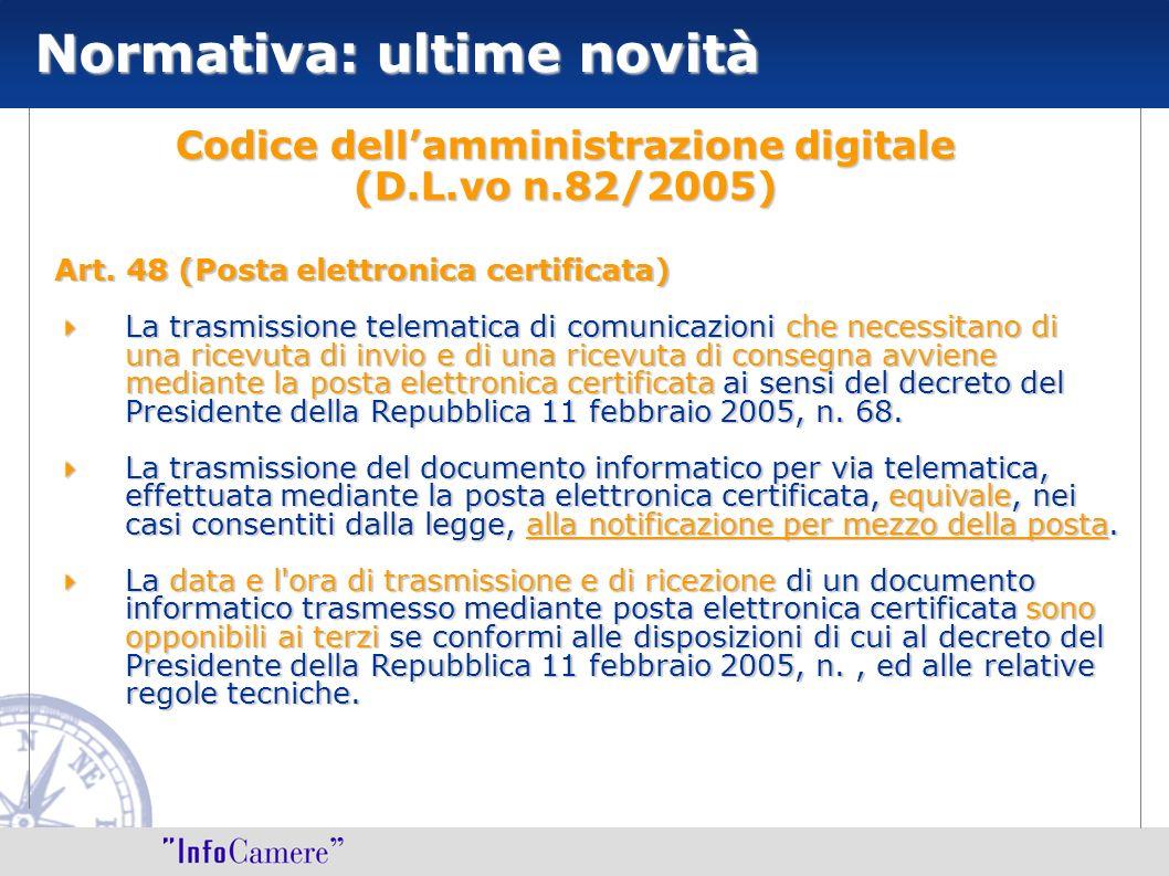 Codice dellamministrazione digitale (D.L.vo n.82/2005) Art. 48 (Posta elettronica certificata) La trasmissione telematica di comunicazioni che necessi